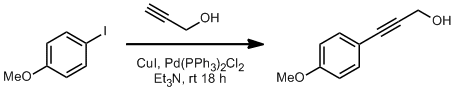 &#xA;			Reaction Scheme: <IMG src=&quot;/images/empty.gif&quot;>Sonogashira Coupling&amp;nbsp;of <SPAN id=csm1317576580386 class=csm-chemical-name title=4-Iodoanisole grpid=&quot;2&quot;>4-Iodoanisole</SPAN> to <SPAN id=csm1317576549829 class=&quot;csm-chemical-name csm-not-validated&quot; title=&quot;Propargyl Alcohol&quot; grpid=&quot;1&quot;>Propargyl Alcohol</SPAN><IMG src=&quot;/images/empty.gif&quot;>