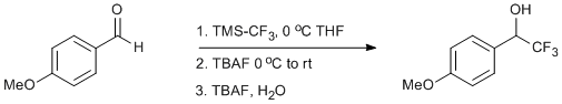 &#xA;			Reaction Scheme: <IMG src=&quot;/images/empty.gif&quot;>Trifluoromethylation of <SPAN id=csm1378730185970 class=csm-chemical-name title=p-Anisaldehyde grpid=&quot;1&quot;>p-Anisaldehyde</SPAN><IMG src=&quot;/images/empty.gif&quot;>