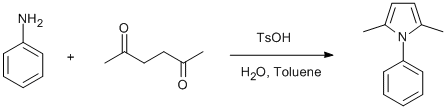 Reaction Scheme: Paal-Knorr reaction of aniline and 2,5-diketone