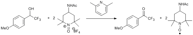 &#xA;			Reaction Scheme: <IMG src=&quot;/images/empty.gif&quot;>Oxidation of <SPAN id=csm1357126920391 class=&quot;csm-chemical-name csm-not-validated&quot; title=2,2,2-trifluoro-1-(4-methoxyphenyl)ethanol grpid=&quot;1&quot;>2,2,2-trifluoro-1-(4-methoxyphenyl)ethanol</SPAN><IMG src=&quot;/images/empty.gif&quot;>