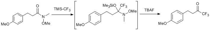 &#xA;			Reaction Scheme: <IMG src=&quot;/images/empty.gif&quot;><IMG alt=&quot;&quot; src=&quot;/images/empty.gif&quot;><IMG alt=&quot;&quot; src=&quot;/images/empty.gif&quot;>Trifluoromethylation of a Weinreb Amide<IMG alt=&quot;&quot; src=&quot;/images/empty.gif&quot;><IMG alt=&quot;&quot; src=&quot;/images/empty.gif&quot;><IMG src=&quot;/images/empty.gif&quot;>