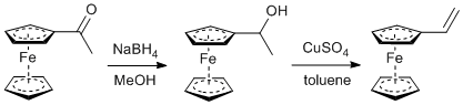 &#xA;			Reaction Scheme: <IMG src=&quot;/images/empty.gif&quot;>Reduction and dehydration of <SPAN id=csm1410192514623 class=&quot;csm-chemical-name csm-not-validated&quot; title=acetylferrocene grpid=&quot;2&quot;>acetylferrocene</SPAN><IMG src=&quot;/images/empty.gif&quot;>