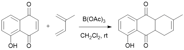 &#xA;			Reaction Scheme: <img src=&quot;/images/empty.gif&quot; alt=&quot;&quot; />Regioselective Diels-Alder Reaction of <span id=&quot;csm1445271606955&quot; class=&quot;csm-chemical-name&quot; title=&quot;5-hydroxy-1,4-naphthoquinone&quot;>5-hydroxy-1,4-naphthoquinone</span> with <span id=&quot;csm1445271629230&quot; class=&quot;csm-chemical-name&quot; title=&quot;Isoprene&quot;>Isoprene</span> at Room Temperature<img src=&quot;/images/empty.gif&quot; alt=&quot;&quot; />