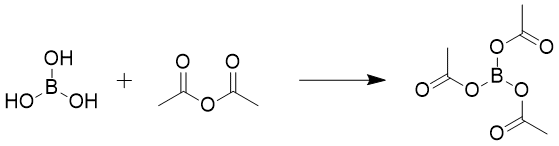 &#xA;			Reaction Scheme: <IMG src=&quot;/images/empty.gif&quot;>Acetylation of <SPAN id=csm1465561560813 class=csm-chemical-name title=&quot;boric acid&quot; grpid=&quot;1&quot;>boric acid</SPAN><IMG src=&quot;/images/empty.gif&quot;>