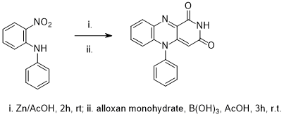 &#xA;			Reaction Scheme: <IMG src=&quot;/images/empty.gif&quot;><IMG src=&quot;/images/empty.gif&quot;>Reduction of <SPAN id=csm1536075693196 class=csm-chemical-name title=2-nitrophenylamine grpid=&quot;1&quot;>2-nitrophenylamine</SPAN> followed by cyclocondensation with <SPAN id=csm1536075701823 class=&quot;csm-chemical-name csm-not-validated&quot; title=&quot;alloxan monohydrate&quot; grpid=&quot;2&quot;>alloxan monohydrate</SPAN><IMG src=&quot;/images/empty.gif&quot;><IMG src=&quot;/images/empty.gif&quot;>