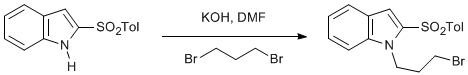 Reaction Scheme: N-Alkylation of an indole by substitution of an alkyl bromide