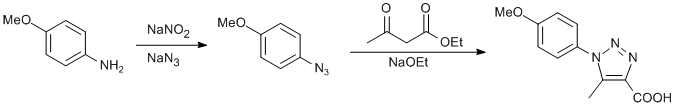 Reaction Scheme: Amine diazotization, in situ nucleophilic aromatic substitution and [3+2] cycloaddition reaction of azide compound