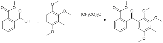 "Reaction Scheme: <SPAN class=""csm-chemical-name csm-not-validated"" id=csm1283071665425 title=""Trifluoroacetic anhydride"">Trifluoroacetic anhydride</SPAN> mediated benzoylation"