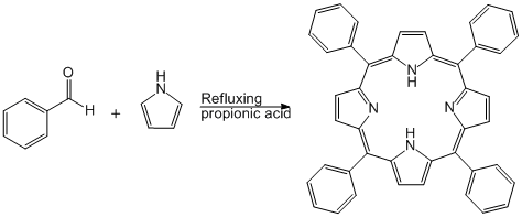 Reaction Scheme: Condensation of Pyrrole with Benzaldehyde Under Adler Conditions