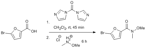 "Reaction Scheme: <IMG src=""/images/empty.gif""><IMG alt="""" src=""/images/empty.gif""><STRONG>Preparation of Weinreb Amides from Carboxylic Acid <EM>via</EM> CDI Activation</STRONG><IMG alt="""" src=""/images/empty.gif""><IMG src=""/images/empty.gif"">"