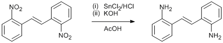 "Reaction Scheme: <IMG src=""/images/empty.gif"">Reduction of nitroarene to aniline using tin chloride and acetic acid<IMG src=""/images/empty.gif"">"