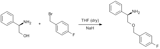"Reaction Scheme: <img src=""/images/empty.gif"" alt="""" />Williamson etherification of a bromomethylfluorobenzene and <span id=""csm1375174307896"" class=""csm-chemical-name"" title=""phenylglycinol"">phenylglycinol</span><img src=""/images/empty.gif"" alt="""" />"