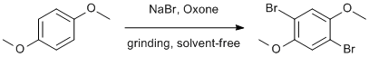 "Reaction Scheme: <IMG src=""/images/empty.gif"">Solventless dibromination of <SPAN id=csm1407859513452 class=""csm-chemical-name csm-not-validated"" title=1,4-dimethoxybenzene grpid=""1"">1,4-dimethoxybenzene</SPAN><IMG src=""/images/empty.gif"">"