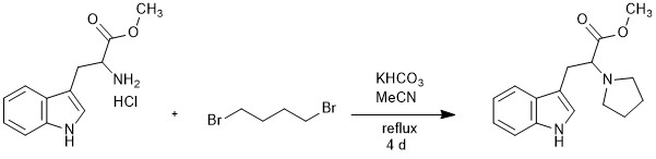 "Reaction Scheme: <IMG src=""/images/empty.gif"">Cyclo-alkylation of the primary amine of <SPAN id=csm1521726770591 class=""csm-chemical-name csm-not-validated"" title=""tryptophan methyl ester"" grpid=""1"">tryptophan methyl ester</SPAN> to a pyrrolidine<IMG src=""/images/empty.gif"">"