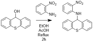 "Reaction Scheme: <IMG src=""/images/empty.gif""><IMG alt="""" src=""/images/empty.gif""><IMG alt="""" src=""/images/empty.gif"">Preparation of <SPAN id=csm1536587798284 class=csm-chemical-name title=N-(2-nitrophenyl)-9H-thioxanthen-9-amine><EM>N</EM>-(2-nitrophenyl)-9H-thioxanthen-9-amine</SPAN> from <SPAN id=csm1536587629183 class=""csm-chemical-name csm-not-validated"" title=thioxanthen-9-ol>thioxanthen-9-ol</SPAN> and <SPAN id=csm1536587632572 class=""csm-chemical-name csm-not-validated"" title=2-nitroaniline>2-nitroaniline</SPAN><IMG alt="""" src=""/images/empty.gif""><IMG alt="""" src=""/images/empty.gif""><IMG src=""/images/empty.gif"">"