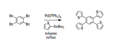 "Reaction Scheme: <img src=""/images/empty.gif"" alt="""" /><img src=""/images/empty.gif"" alt="""" />Synthesis of a tetrathiophenylbenzene by Stille coupling<img src=""/images/empty.gif"" alt="""" /><img src=""/images/empty.gif"" alt="""" />"