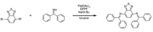 Reaction Scheme: Buchwald-Hartwig coupling of benzophenone imine with 4,7-dibromobenzo[<em>c</em>]-1,2,5-thiadiazole&nbsp;