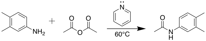Reaction Scheme: Amidation of acetic anhydride with 3,4-dimethylaniline