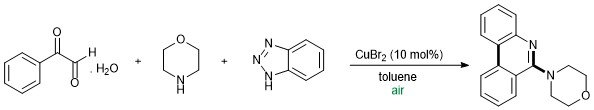Reaction Scheme: Tandem synthesis of 4-(6-Phenanthridinyl)morpholine through the Elimination of N<sub>2</sub> and CO from Substituted Benzotriazole